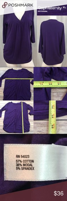 ⭐️Sz XL Gap Maternity V-neck Purple 3/4 Sleeve Top Measurements are in photos. Normal wash wear, no flaws. F3/34  I do not comment to my buyers after purchases, due to their privacy. If you would like any reassurance after your purchase that I did receive your order, please feel free to comment on the listing and I will promptly respond.   I ship everyday and I always package safely. Thank you for shopping my closet! GAP Tops