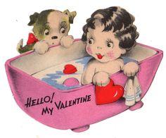 JG SCOTT VALENTINE - PUPPY WATCHES SWEET LITTLE GIRL TAKE A BATH / VINTAGE CARD #Gibson