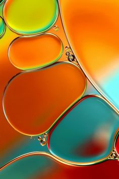 Oil and Water Abstract in Orange | Sharon Johnstone