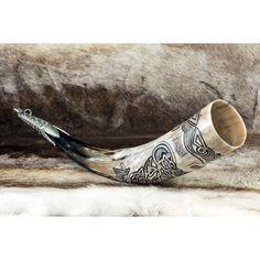 Vendel Carved Drinking Viking Horn Norse Mug Horns Vendel Anglo-Saxon... (1.665 DKK) ❤ liked on Polyvore featuring home, kitchen & dining, serveware, drink & barware, drinkware, grey, home & living, pitchers & drinking sets, beverage set and beverage pitcher