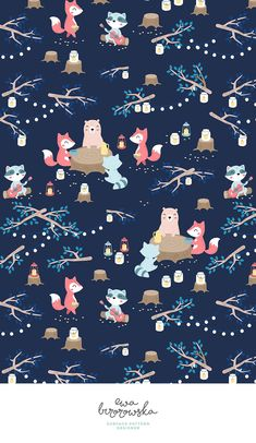 Picnic - night summer picnic - textile surface pattern design on dark navy background with cute woodland creatures :) Cute Wallpapers, Wallpaper Backgrounds, Iphone Wallpaper, Textile Patterns, Print Patterns, Textiles, Background Patterns, Navy Background, Woodland Creatures