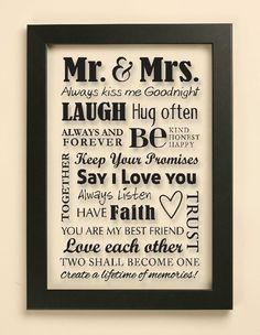 Mr & Mrs Wedding Quote Vinyl Decal   Frame by JustGottaShopVinyl