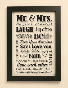 Mr & Mrs Wedding Quote Vinyl Decal   Frame by JustGottaShopVinyl