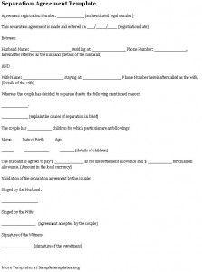 Divorce petition template separation agreement for Ontario legal separation agreement template