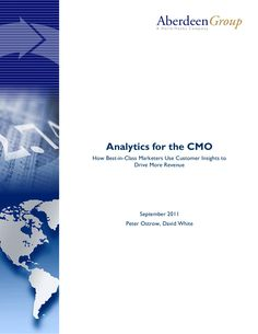 Analytics for the CMO posted by Scott Valentine via Slideshare