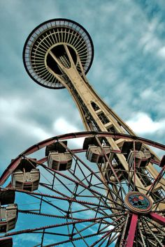 Seattle Space Needle + Ferris Wheel.   Great view from the top of the Needle!