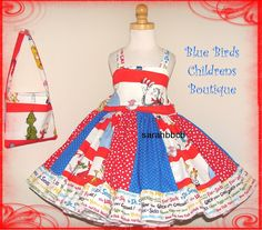 Dr Seuss Cat in the Hat Girls Dress & Purse  BBCB by sarahBBCB, $44.00