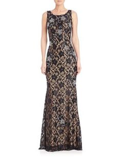 JOVANI Sequined Lace Gown. #jovani #cloth #gown