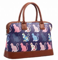 Navy Blue Canvas Cat Handbag Pink Floral Cats Top Handle Hand Held Grab Bag