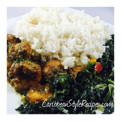 Try this mouthwatering recipe, Guyanese style Bunjal Shrimp Curry with Bhaji (sauteed spinach). It's the perfect curry dish! Fried Fish Recipes, Baked Salmon Recipes, Spinach Recipes, Spinach Curry, Sauteed Spinach, Veg Cutlet Recipes, Puerto Rico, Guyanese Recipes, Caribbean Recipes