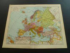 Old map of Europe 1928 antique vintage by DecorativePrints on Etsy