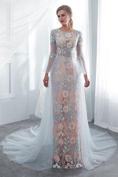 In Stock Fascinating Tulle & Lace Jewel Neckline See-through Bodice Sheath/Column Wedding Dress