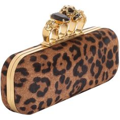 Leopard Pony Knuckle-Box Clutch (137.365 RUB) ❤ liked on Polyvore featuring bags, handbags, clutches, purses, mcqueen, alexander mcqueen, women, skull knuckle purse, leopard purse and brown handbags