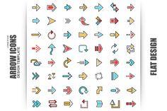 56 Flat Line Arrow Icons @creativework247