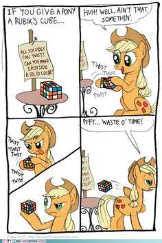 Apple Jack doesn't like the Rubik's cube's fancy mathematics