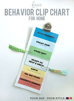 Free printable Behavior Clip Chart for home to help with daily kid discipline by Your Day. Your Style.
