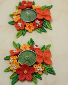 This Diwali lighten up your house with creativity! Paper Quilling Cards, Paper Quilling Flowers, Quilling Paper Craft, Paper Crafts, Happy Diwali, Candle Stand, Tealight Candle Holders, Diwali Diya, Quilling Tutorial