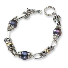 """Sterling Silver w/14k Black Cultured Pearl 7.5"""" Toggle Bracelet"""" Accent on Gold. $321.66"""