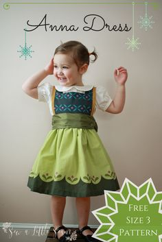 Free Anna Dress Sewing Pattern in 3T.