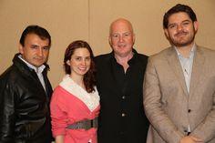 De derecha a izquierda, Edgar López, director de Expok; Kevin Roberts, el autor de Lovemarks, Majos, colaboradora editorial en Expok y Luis Maram