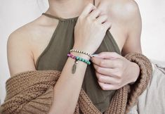 BOHO Gemstone Bracelet - Feather Charm #moosh #gemstone #boho #bracelet