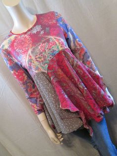 Lagenlook Tunic Boho Gypsy Marrakesh Express Altered Couture One of a Kind Size S-M