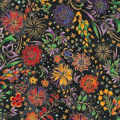 Robert Kaufman Fabrics: APTM-15916-2 BLACK by Peggy Toole from Lumina 2