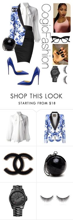 """""""Untitled #422"""" by cogic-fashion ❤ liked on Polyvore featuring Dondup, Rock & Republic, Roberto Cavalli, Christian Louboutin, Chanel, Retrò, Juicy Couture and shu uemura"""