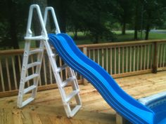 I did this over the weekend. My wife found the slide at a yard sale, it is a playground slide. I attached it to our old pool ladder. I cut the sides of the slide back enough so it would hang over the top step on the ladder, then attached it to the ladder with stainless carriage bolts. I put stainless screws through the ladder legs into the bottom step on each leg, then screwed the ladder to the deck through the bottom step. It is surprisingly solid.