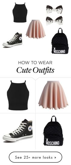 """cute tumblr outfit"" by abbygurl9090 on Polyvore featuring Chicwish, Converse, Moschino, women's clothing, women, female, woman, misses and juniors"