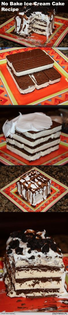 The link is not in english, but the gist of it is that you build a cake out of icecream sandwiches, gluing the layers together with magic shell, and slather it with whipped cream. Freeze at least 20 minutes. I made mine with 24, two layers of 12, food lion brand sandwiches and drizzled with some chocolate. A beautiful thing.