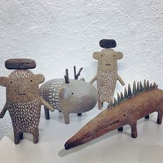 collaboration with Gina Zycher - show at gallery May 2019 - Ceramics / godeleine de Rosamel Ceramic Monsters, Ceramic Animals, Ceramic Art, Sculptures Céramiques, Wood Sculpture, Ceramic Sculpture Figurative, Arte Popular, Clay Figures, Mythological Creatures