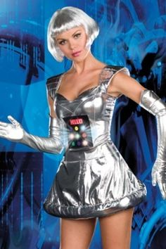 $20 plus postage Female Robot Costume with Lights and Sound; Gloves & Boot Covers Included   eBay
