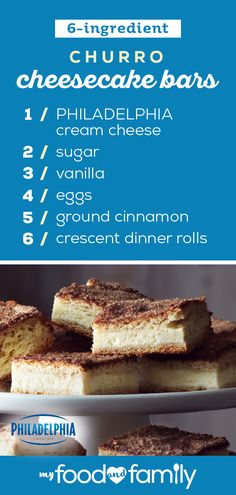 Churro Cheesecake Bars – Churro, meet cheesecake! Coming together to create a delicious dessert duo, your friends and family are sure to enjoy this cinnamony treat!