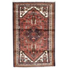 Handmade Rectangular Semi Antique Persian Hamada Area Rug in Brown with Beige Accents, 2x3 area rugs