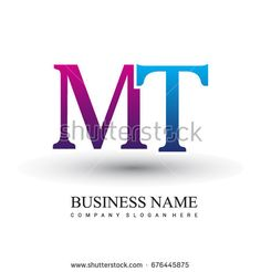 initial letter logo MT colored red and blue, Vector logo design template elements for your business or company identity
