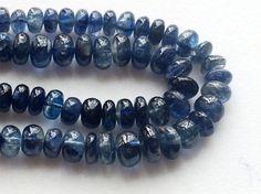 Kyanite Plain Rondelle Beads Blue Kyanite Beads by gemsforjewels