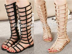 New 2014 Summer Shoes Sexy Open Toe Flat Women Sandals Knee High Gladiator Sandals Women Cut-outs Cool Summer Boots Ladies  $30.98 - 32.98