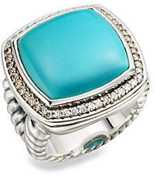 David Yurman Turquoise, Diamond and Sterling Silver Ring on shopstyle.com