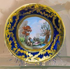 Jan De Vliegher-sevres, landscape with dog, plates