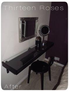 Ikea Ekby Shelf vanity Dressing Table ps 2012 stool in black wilkinson silver mirror black vanity bin and revlon illuminated mirrora