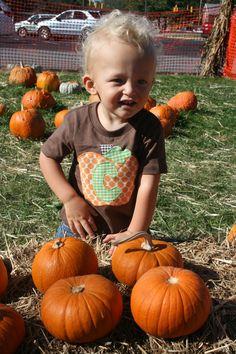 Fall Applique Halloween Pumpkin Shirt Initial Applique for Boys or Girls