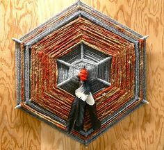 God's eye (Ojo de Dios) made using rescued hand spun yarns