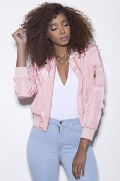Top Flight Bomber Jacket (Blush Pink)