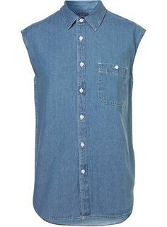 Stone Wash Denim Sleeveless Shirt