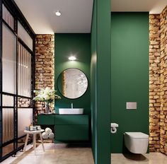 Salle de bain Fir green bathroom and brick wall Parents Getting Early Start On Kids' Supply Lists Do Bad Inspiration, Bathroom Inspiration, Bathroom Ideas, Bathroom Remodeling, Bathroom Designs, Budget Bathroom, Bath Ideas, Remodeling Ideas, Bathroom Interior