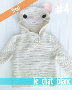 Free Kitty Crochet Baby Sweater Pattern - use pattern but make into a fox for Wulfric's Halloween costume