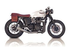 Triumph Bonneville custom motorcycle by Deus Ex Machina in Venice Beach. Cafe Racer style.