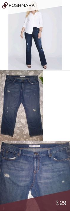 💙 NWOT Old Navy Distressed Plus Size Jeans NWOT Never Worn Old Navy Plus Size Distressed Straight Leg Jeans Size 18 Dark Wash  ** please be advised these are not the same jeans as in the stock photo they are similar ** Old Navy Jeans Straight Leg