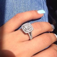 A beautiful double cushion cut halo engagement with a split band. Finley claws set to perfection! www.idealdiamonds.com.au